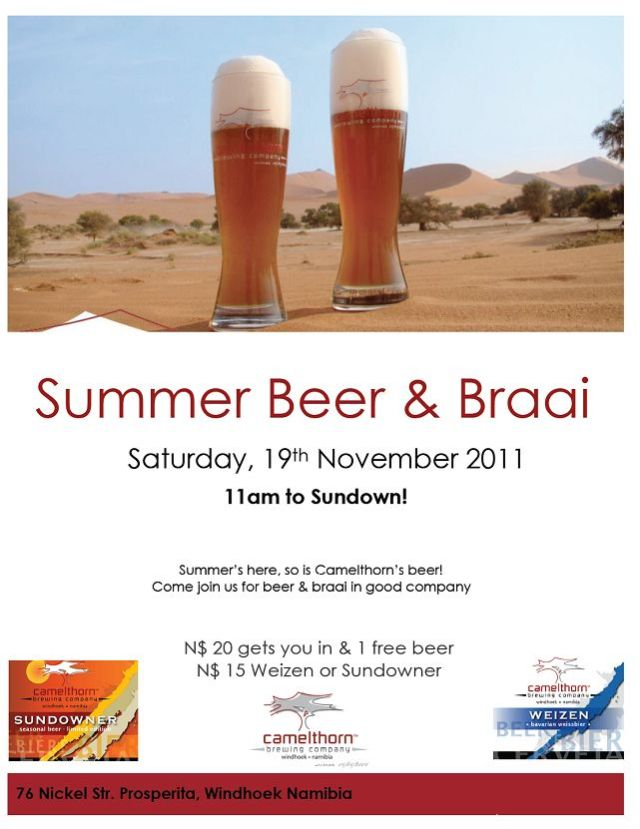 Summer Beer & Braai at the brewery in Windhoek on Saturday 19 November - Weizen and Sundowner available on tap